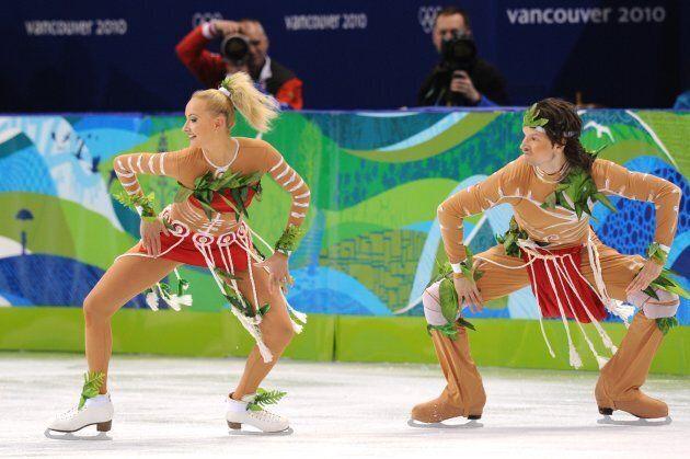 Russia's Oksana Domnina and Maxim Shabalin at the 2010 Olympics in