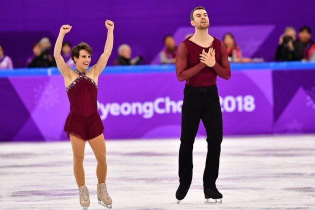 Meagan Duhamel, left, with partner Eric Radford, says her costume was inspired by a bathing suit she...