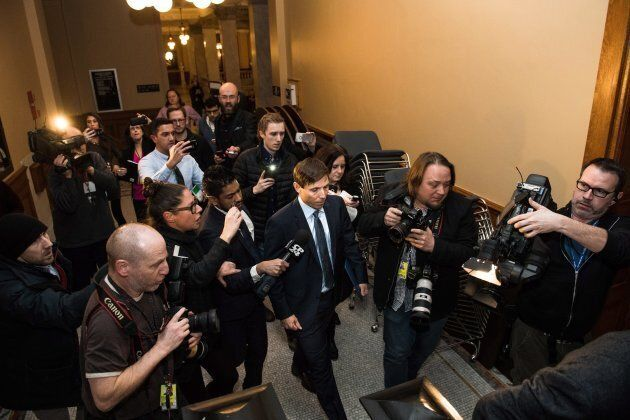Former Ontario Progressive Conservative leader Patrick Brown leaves Queen's Park after a press conference...