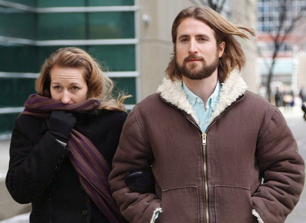 David and Collet Stephan leave for a break during their appeals trial in Calgary on March 9,