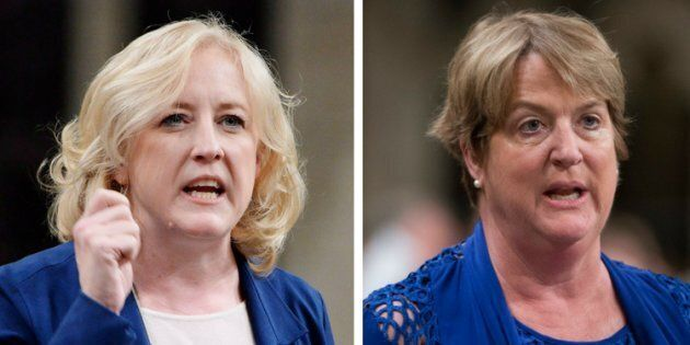 Conservative MPs Lisa Raitt, left, and Cathy McLeod, are criticizing Prime Minister Justin Trudeau for...