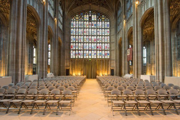 A general view shows the nave in St George's Chapel at Windsor Castle, west of London, on Feb. 11, 2018...