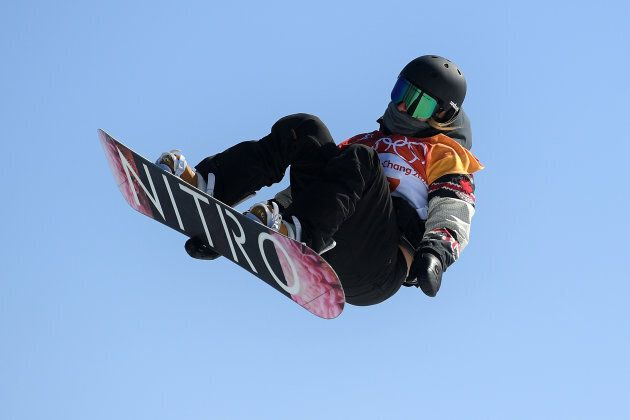 Laurie Blouin of Canada competes in the Snowboard Ladies' Slopestyle