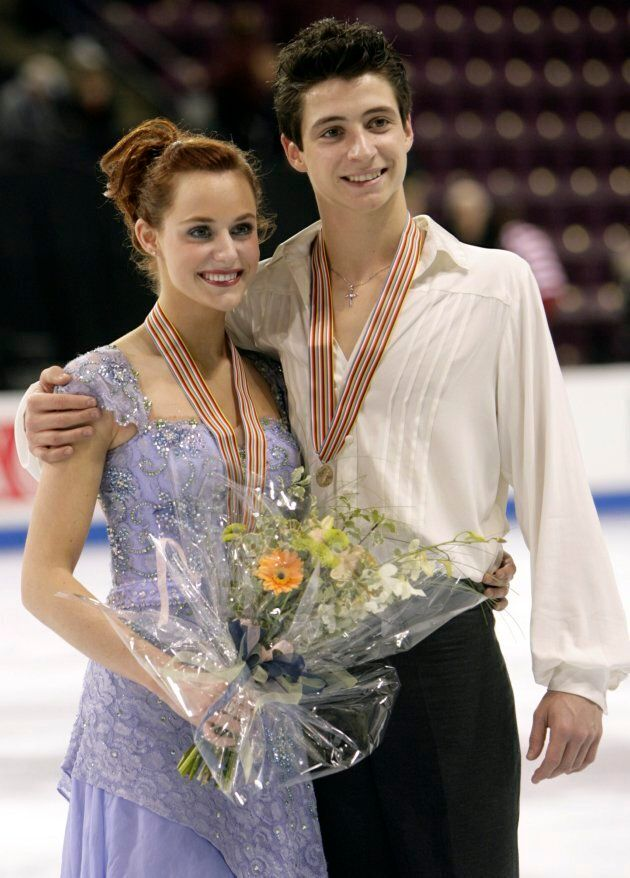 Virtue and Moir wear their bronze medals at the Four Continents Figure Skating Championships in Colorado Springs on Feb. 9, 2007.