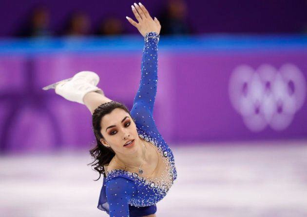 Gabrielle Daleman performs her free skate routine in the team event at the 2018 PyeongChang Olympics.