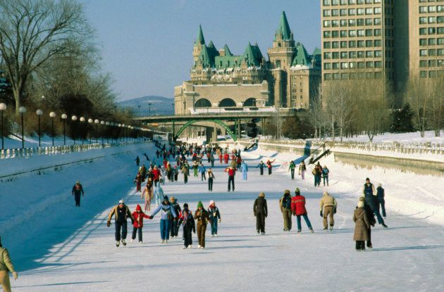 People ice skating on Rideau