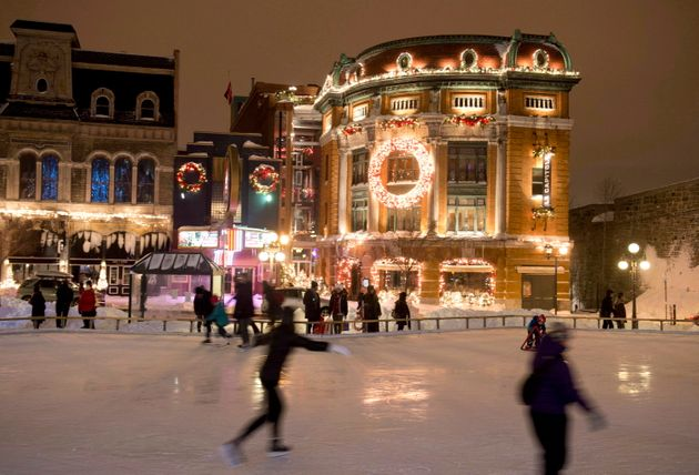 Skaters enjoy the ice rink in Place