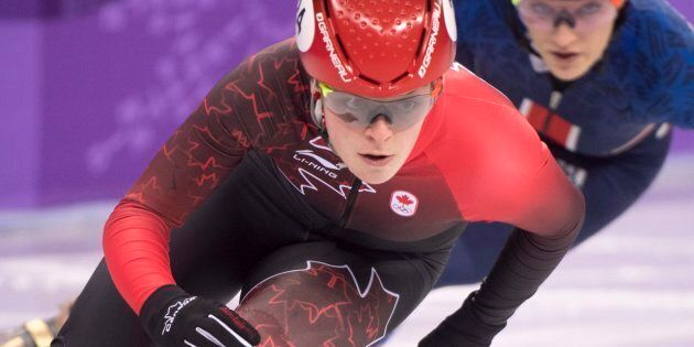 Canada's Kim Boutin competes in the women's 500-metre short-track speedskating semifinal at the Pyeonchang...