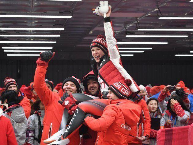 Bronze medallist Canada's Alex Gough celebrates after the women's luge