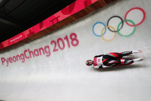 Alex Gough of Canada competing in women's luge at the 2018 PyeongChang