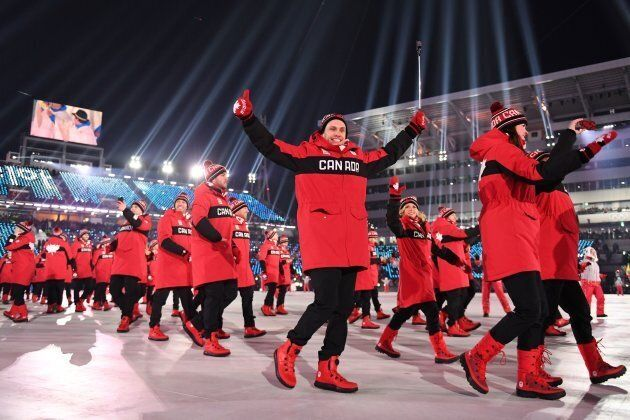 Team Canada at the opening ceremony of the Pyeongchang 2018 Winter Olympic