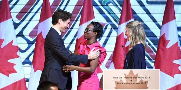 Prime Minister Justin Trudeau is welcomed by Parliamentary Secretary to the Minister of International...