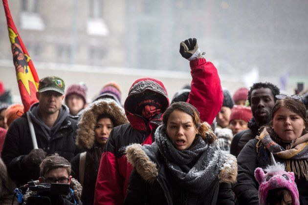 Protesters gather in Nathan Phillips Square in Toronto on Feb. 10, 2018 to condemn Gerald Stanley's not-guilty...