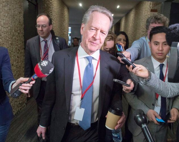 Canada's chief NAFTA negotiator Steve Verheul speaks to the media as he leaves for the lunch break at...