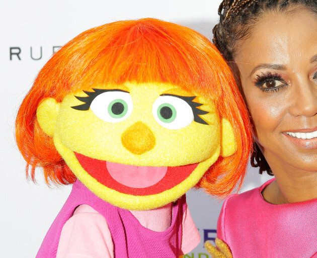 The first autistic Sesame Street character, Julia, left, at HollyRod Foundation's DesignCare Gala on July 15, 2017.
