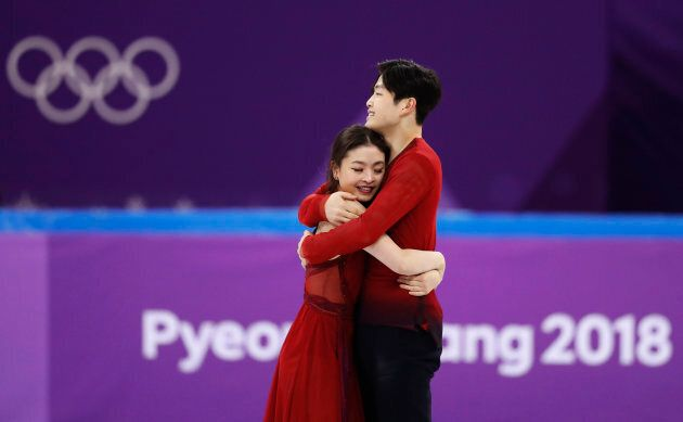 Alex and Maia Shibutani, of Team USA, at the ice dancing team event at the 2018 Winter
