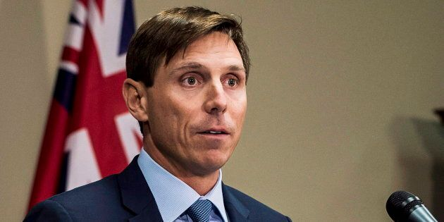 Patrick Brown speaks at a press conference at Queen's Park in Toronto on Jan. 24,