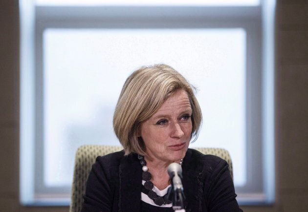 Alberta Premier Rachel Notley gives opening remarks at an emergency cabinet meeting today in Edmonton,...