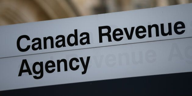 A sign is pictured in front of the Canada Revenue Agency (CRA) national headquarters in