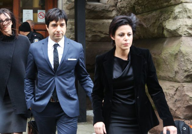 Former Canadian radio host Jian Ghomeshi leaves court with his attorney Marie Henein after an Ontario...