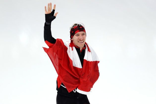 Canada'sTed-Jan Bloemen of Canada celebrates winning the gold medal in Olympic record