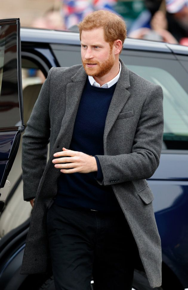 Prince Harry visits Edinburgh Castle on Feb. 13 wearing a Club Monaco