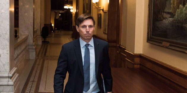 Patrick Brown leaves Queen's Park after a press conference in Toronto on Jan. 24,