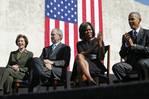 Laura Bush, George W. Bush, Michelle Obama and Barack Obama meet for a commemoration at the Edmund Pettus...