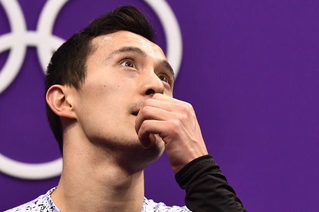 Patrick Chan after competing in the men's single skating short program during the PyeongChang Olympics.