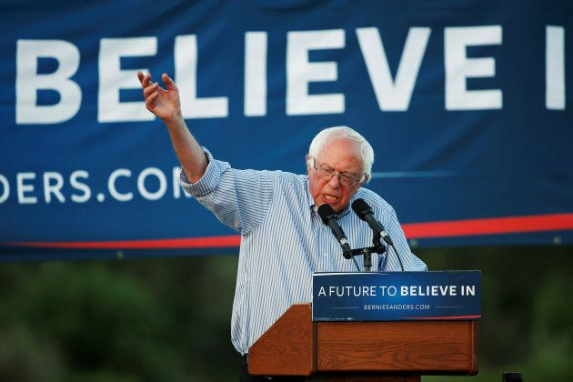 Bernie Sanders speaks during a campaign rally in Cloverdale, California on June 3,