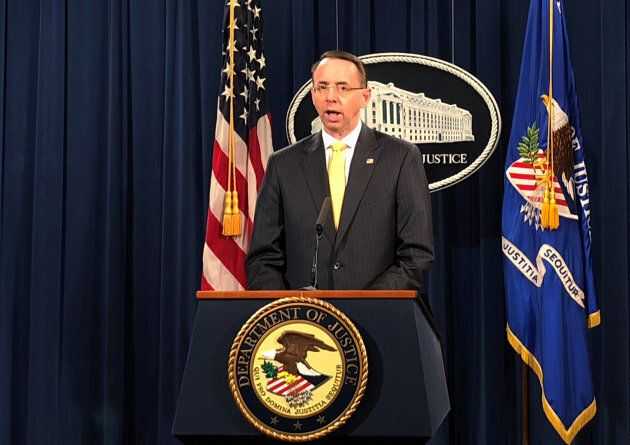 Deputy U.S. Attorney General Rod Rosenstein announces the indictments of more than a dozen Russians charged...