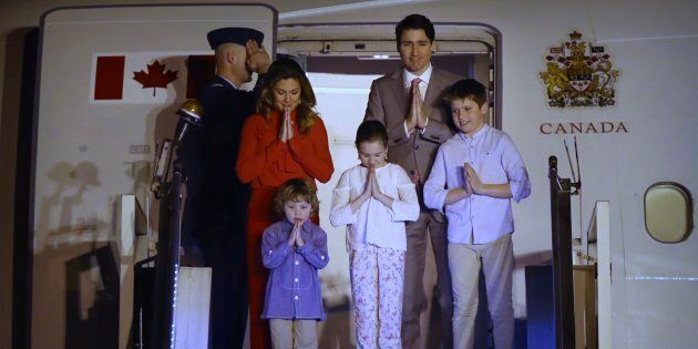 Prime Minister Justin Trudeau, his wife, Sophie Gregoire Trudeau, their sons Hadrien and Xavier, and...