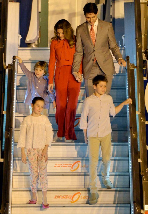 Justin Trudeau, accompanied by his wife and their children, arrives at New Delhi, India on