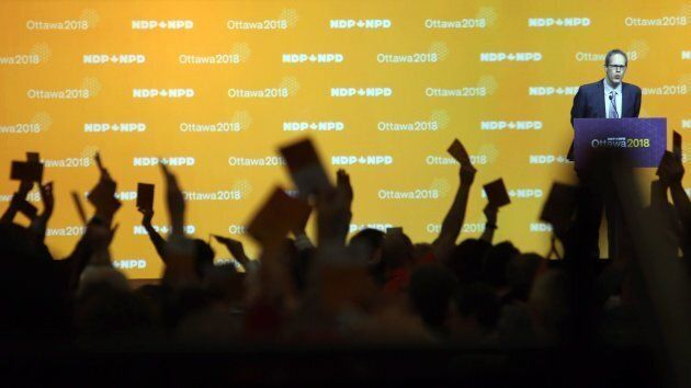 NDP delegates vote on resolutions in Ottawa on Feb. 16,