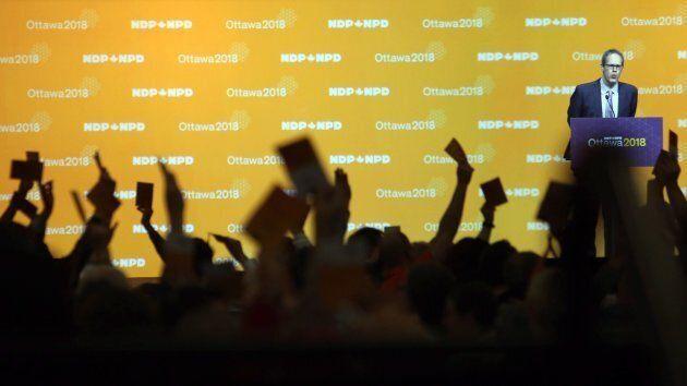 NDP delegates vote on resolutions in Ottawa on Feb. 16, 2018.