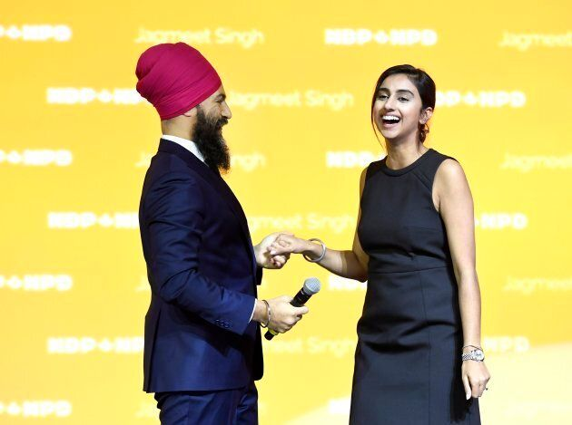 NDP Leader Jagmeet Singh invites his fiancee Gurkiran Kaur on stage after his speech at the Federal NDP...