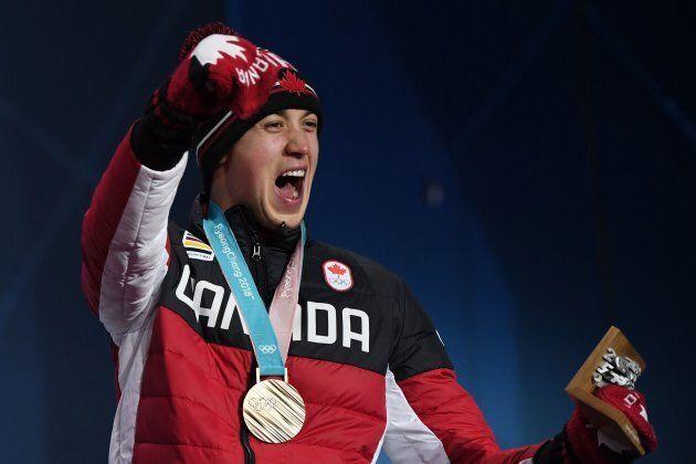 Canada's bronze medallist Alex Beaulieu-Marchand celebrates on the