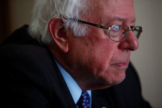U.S. Sen. Bernie Sanders is interviewed by Reuters reporters at his office on Capitol Hill in Washington,...