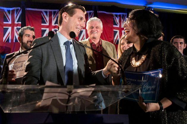 Ontario Conservative leadership candidate Patrick Brown thanks a supporter as he addresses supporters...