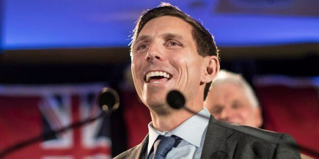 Ontario Conservative leadership candidate Patrick Brown addresses supporters and the media in Toronto...