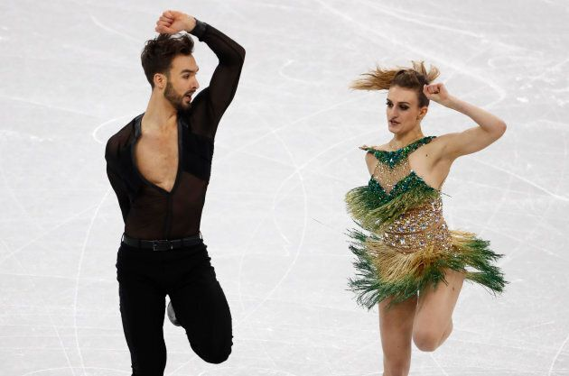 Guillaume Cizeron and Gabriella Papadakis of France perform during the Pyeongchang Olympics on Feb. 19,