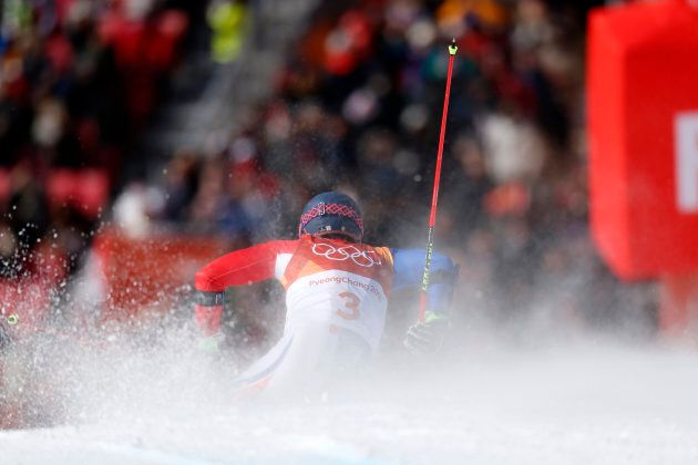 Mathieu Faivre of France competes during the Alpine Skiing Men's Giant Slalom at Yongpyong Alpine Centre...