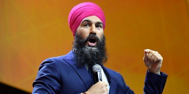 NDP Leader Jagmeet Singh speaks during the federal NDP convention in Ottawa on Feb. 17,
