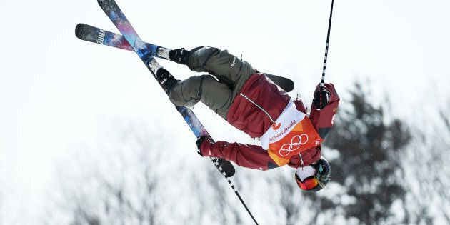 Cassie Sharpe of Canada competes in the ski halfpipe
