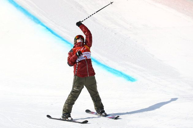 Cassie Sharpe of Canada celebrates winning gold in the ski
