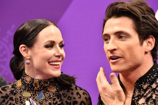 Tessa Virtue and Canada's Scott Moir after competing in the ice dance short short event at the 2018
