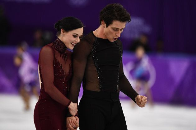 Tessa Virtue and Canada's Scott Moir after competing in the ice dance free dance during the 2018 Winter...