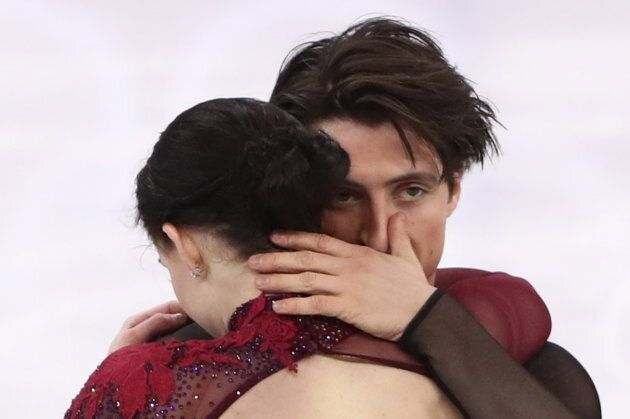 Tessa Virtue and Scott Moir of Canada perform their free dance as part of the team event at the 2018...