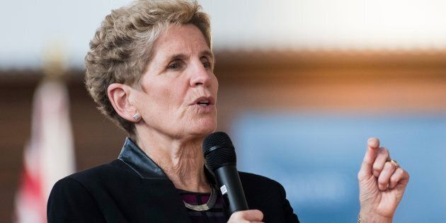 Ontario's Premier Kathleen Wynne speaks at town hall Q&A at Queen's University in Kingston, Ont., Wed....