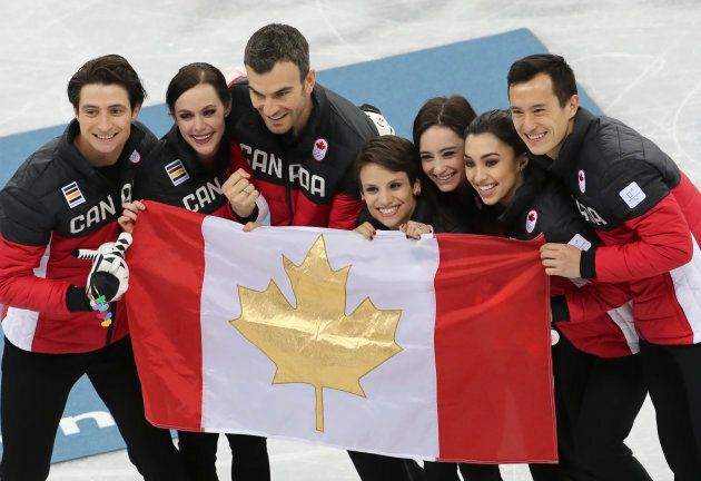 Gold medalists Team Canada (Patrick Chan, Gabrielle Daleman, Kaetlyn Osmond, Meaghan Duhamel, Eric Radford,...